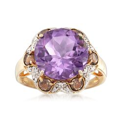 4.90 Carat Amethyst and .60 ct. t.w. Smoky Quartz Ring With White Topaz in 18kt Gold Over Sterling, , default
