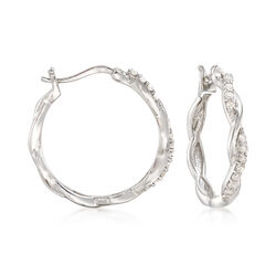 Diamond Twisted Hoop Earrings in Sterling Silver, , default