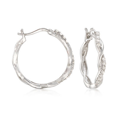 Diamond Twisted Hoop Earrings in Sterling Silver, , default