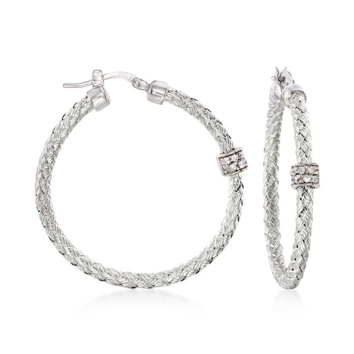 "Charles Garnier ""Torino"" .20 ct. t.w. CZ Medium Hoop Earrings in Sterling Silver. 1 3/8"""