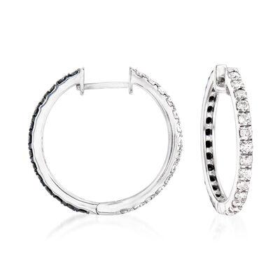 1.00 ct. t.w. Black and White Diamond Reversible Hoop Earrings in 14kt White Gold
