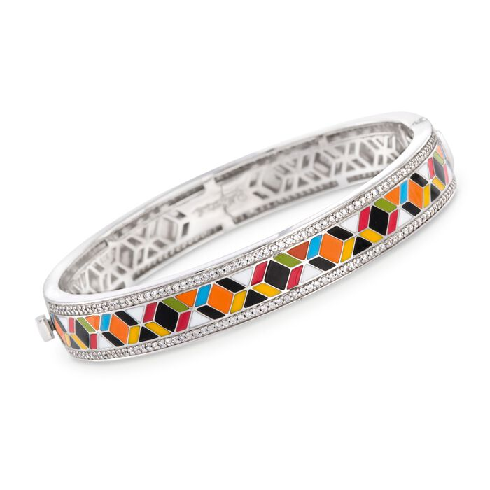 "Belle Etoile ""Forma"" 1.50 ct. t.w. CZ and Multicolored Enamel Bangle Bracelet in Sterling Silver. 7"", , default"