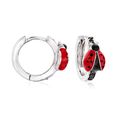 .10 ct. t.w. Black Spinel and Enamel Ladybug Huggie Hoop Earrings in Sterling Silver
