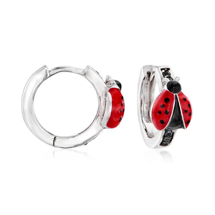 .10 ct. t.w. Black Spinel and Enamel Ladybug Huggie Hoop Earrings in Sterling Silver