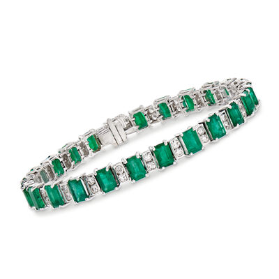 13.00 ct. t.w. Emerald and 1.80 ct. t.w. Diamond Tennis Bracelet in 14kt White Gold, , default