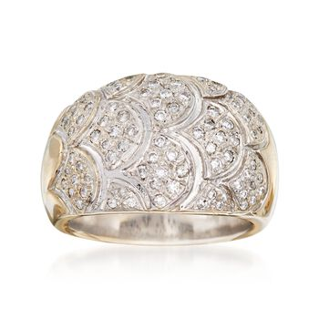 C. 1980 Vintage .75 ct. t.w. Diamond Dome Ring in 18kt Yellow Gold. Size 7.5, , default