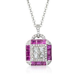 "Gregg Ruth .97 ct. t.w. Ruby and .58 ct. t.w. Diamond Necklace in 18kt White Gold. 18"", , default"