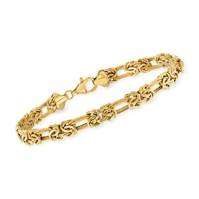 14kt Yellow Gold Flat Byzantine Double-Link Bracelet, , default