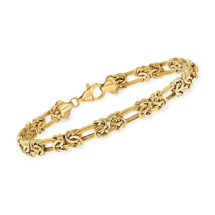 14kt Yellow Gold Flat Byzantine Double-Link Bracelet
