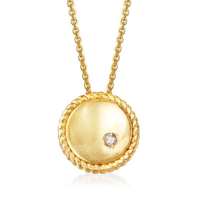 "Phillip Gavriel ""Italian Cable"" Pendant Necklace with Diamond Accent in 14kt Yellow Gold"