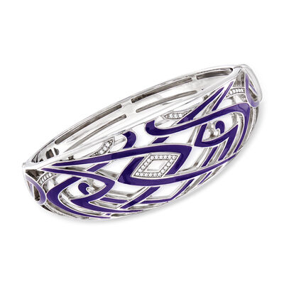 "Belle Etoile ""Virago"" Twilight Blue Enamel and .24 ct. t.w. CZ Bangle Bracelet in Sterling Silver"