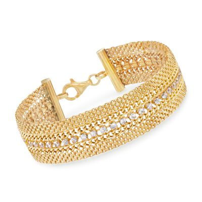 Italian 3.90 ct. t.w. CZ Bismark-Link Bracelet in 18kt Yellow Gold Over Sterling Silver, , default