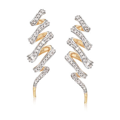 .73 ct. t.w. Diamond Twist Drop Earrings in 14kt Yellow Gold, , default