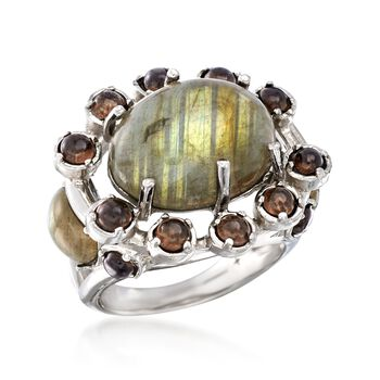 Multicolored Labradorite and 2.10 ct. t.w. Smoky Quartz Ring in Sterling Silver, , default