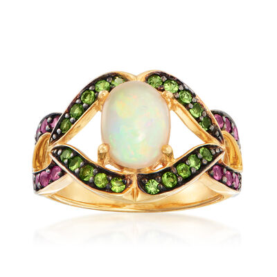Opal, .40 ct. t.w. Green Chrome Diopside and .30 ct. t.w. Pink Tourmaline Ring in 18kt Gold Over Sterling