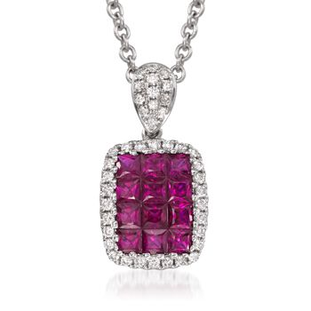 "Gregg Ruth .70 ct. t.w. Ruby and .15 ct. t.w. Diamond Pendant Necklace in 18kt White Gold. 16"", , default"