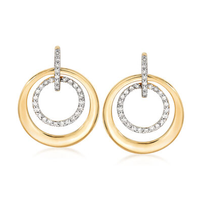 .30 ct. t.w. Diamond Double Circle Drop Earrings in 14kt Yellow Gold, , default