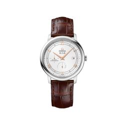 Omega De Ville Prestige Men's 39.5mm Stainless Steel Watch With Brown Leather Strap , , default