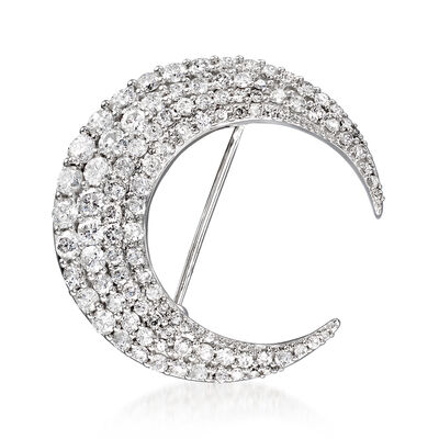 2.00 ct. t.w. Diamond Crescent Moon Pin in 14kt White Gold, , default