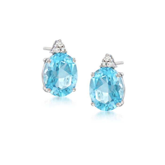 6.30 ct. t.w. Blue Topaz and Diamond Post Earrings in 14kt White Gold , , default