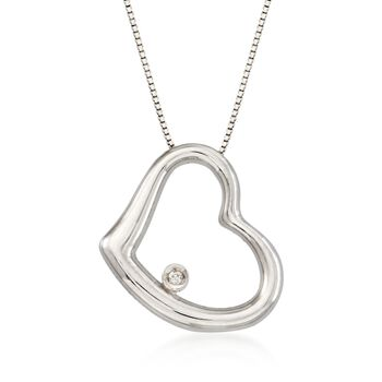 "Roberto Coin 18kt White Gold Medium Heart Necklace With Diamond. 16"", , default"