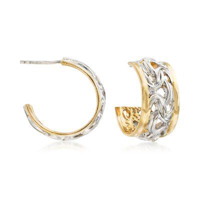 Italian Two-Tone Sterling Silver Byzantine Hoop Earrings, , default