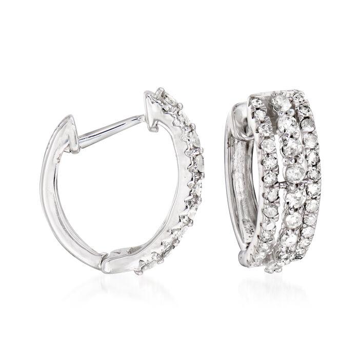 ".50 ct. t.w. Diamond Huggie Hoop Earrings in 14kt White Gold. 3/8"", , default"