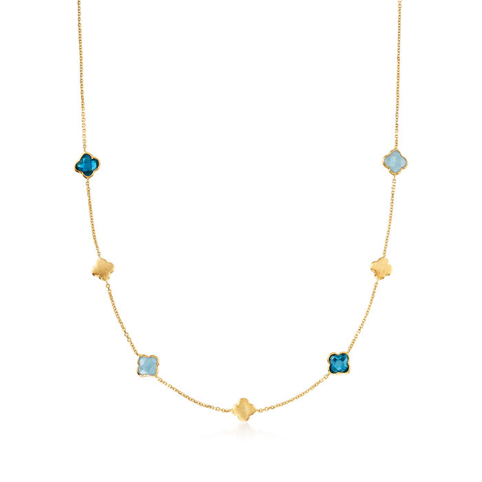 Italian 1.90 ct. t.w. London Blue Topaz and 1.40 ct. t.w. Aquamarine Flower Necklace in 14kt Yellow Gold
