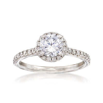 .29 ct. t.w. Diamond Halo Engagement Ring Setting in 14kt White Gold