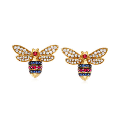 1.20 ct. t.w. Diamond, .40 ct. t.w. Ruby and .30 ct. t.w. Sapphire Bee Earrings in 14kt Yellow Gold
