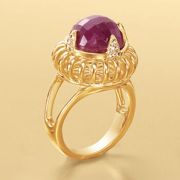 9.50 Carat Ruby Ring with Diamond Accents in 18kt Yellow Gold Over Sterling, , default