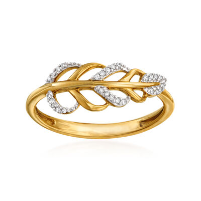 14kt Yellow Gold Diamond-Accented Leaf Ring, , default