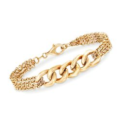Italian 14kt Yellow Gold Curb-Link and Chain Bracelet, , default