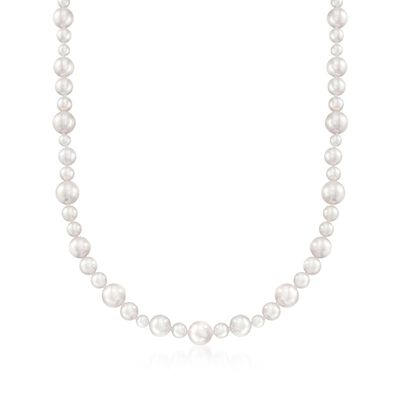 Mikimoto 4.5-8.5mm A1 Akoya Pearl Necklace with 18kt White Gold, , default