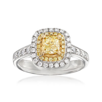 1.26 ct. t.w. Yellow and White Diamond Ring in 18kt Two-Tone Gold, , default
