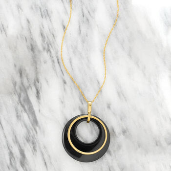 Black Onyx Pendant Necklace in 14kt Yellow Gold, , default