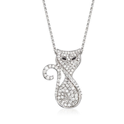 .50 ct. t.w. Diamond Cat Pendant Necklace in Sterling Silver