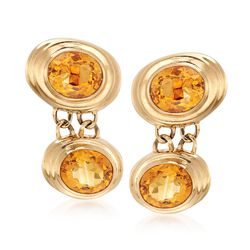 C. 1980 Vintage 34.00 ct. t.w. Bezel-Set Citrine Drop Earrings in 14kt Yellow Gold, , default