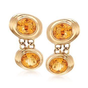C. 1980 Vintage 34.00 ct. t.w. Bezel-Set Citrine Drop Earrings in 14kt Yellow Gold, , default