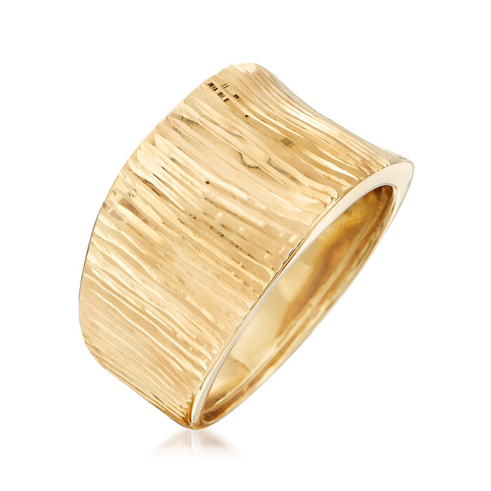 Italian 18kt Yellow Gold Diamond-Cut Striped Ring