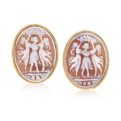 """C. 1980 Vintage Pink Shell """"Three Graces"""" Cameo Clip-On Earrings in 14kt Yellow Gold, , default"""