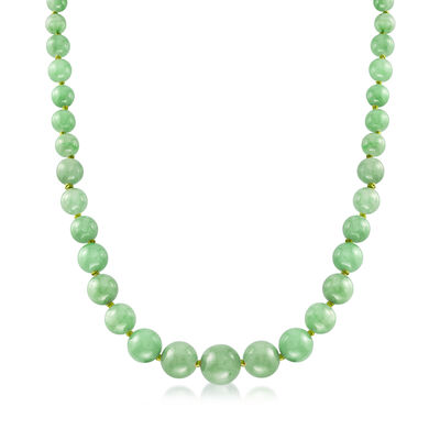6-13mm Graduated Green Jade Bead Necklace with 14kt Yellow Gold