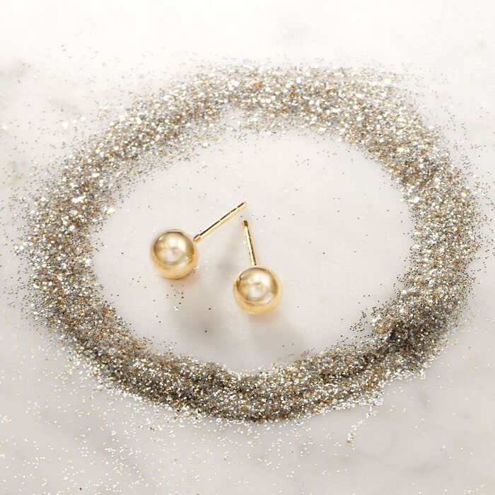 Italian 6mm 18kt Yellow Gold Ball Stud Earrings
