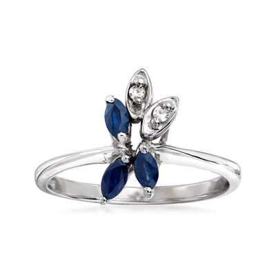 C. 1980 Vintage .35 ct. t.w. Sapphire Flower Ring in 14kt White Gold with Diamond Accents, , default