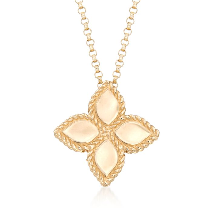 "Roberto Coin ""Princess"" 18kt Yellow Gold Medium Flower Pendant Necklace"