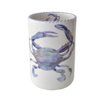 "Abbiamo Tutto Italian ""Blue Crab"" Ceramic Wine Bottle/Kitchen Utensil Holder"