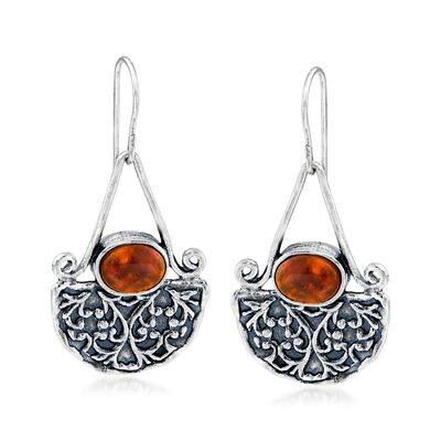 8x6mm Amber Fan Drop Earrings in Sterling Silver, , default