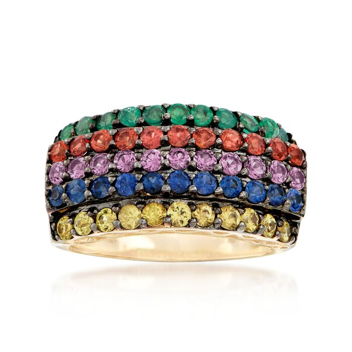 1.60 ct. t.w. Multicolored Sapphire and .30 ct. t.w. Emerald Multi-Row Ring in 14kt Yellow Gold, , default