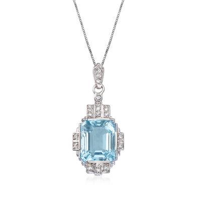 6.25 Carat Aquamarine and .19 ct. t.w. Diamond Pendant Necklace in 14kt White Gold, , default