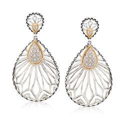 Andrea Candela .24 ct. t.w. Diamond Floral Openwork Teardrop Earrings in Sterling Silver and 18kt Gold , , default